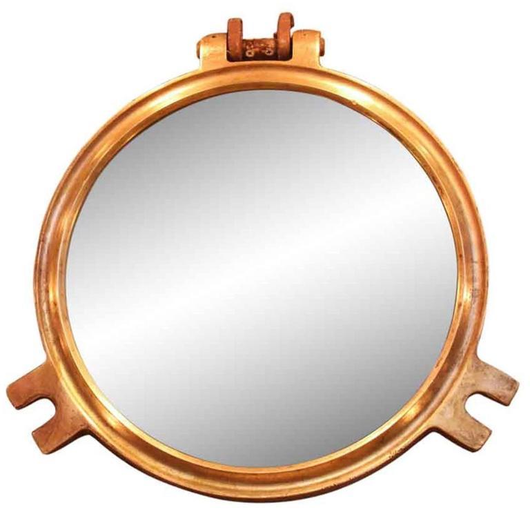 1950s, Polished Round Bronze Porthole Mirror
