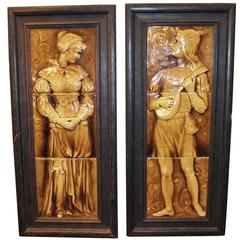 1890s Pair of Wood Framed Victorian Figural Mantel Tile
