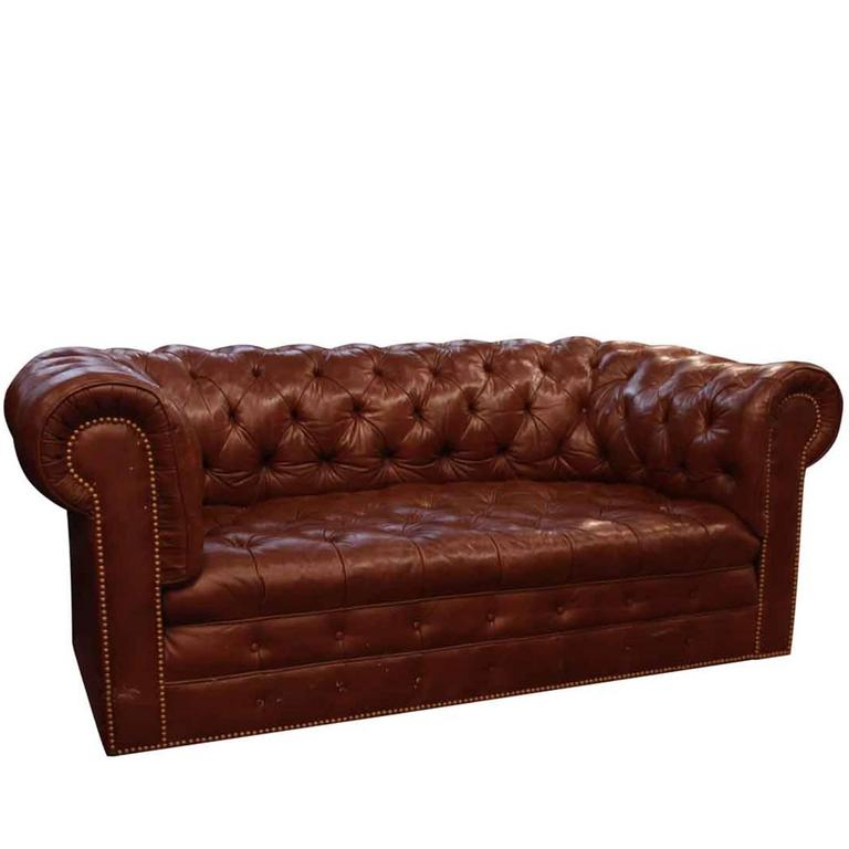 1970s Brown Chesterfield Leather Sofa With Brass Rivets By Hancock