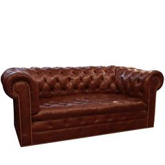 1970s Brown Chesterfield Leather Sofa with Brass Rivets by Hancock & Moore