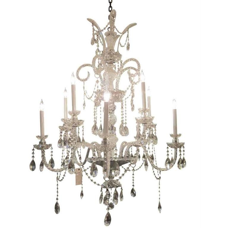 1950s Italian Nine Arm Crystal Chandelier With Swag Crystals For