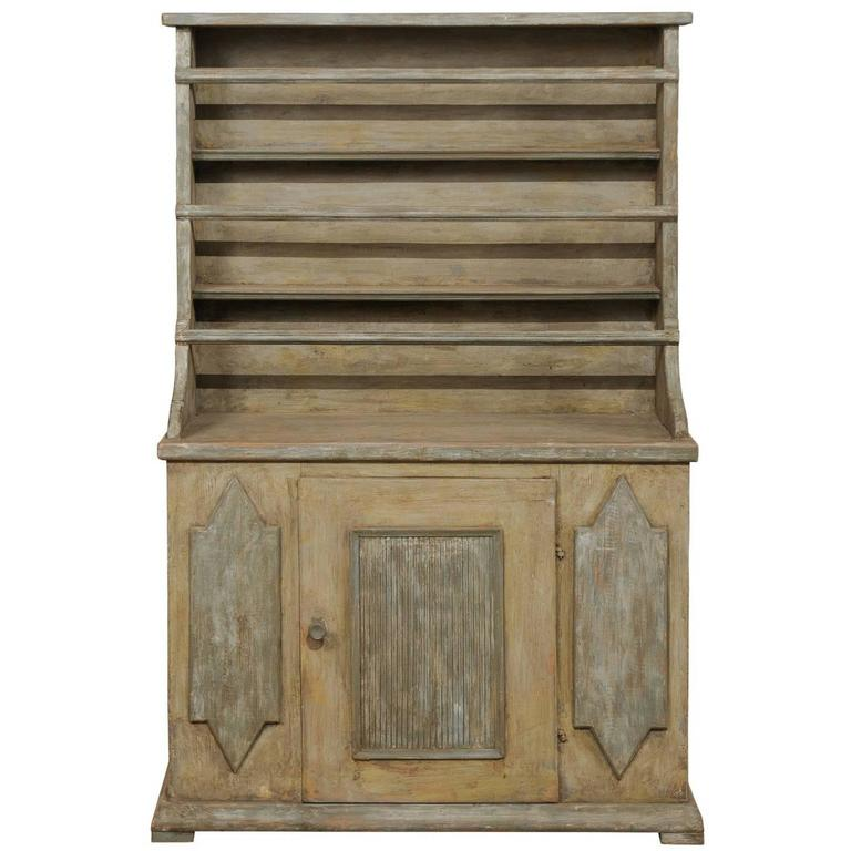 19th Century Period Gustavian, Swedish Painted Wood Cabinet With Plate Rack  For Sale