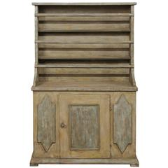 19th Century Period Gustavian, Swedish Painted Wood Cabinet with Plate Rack