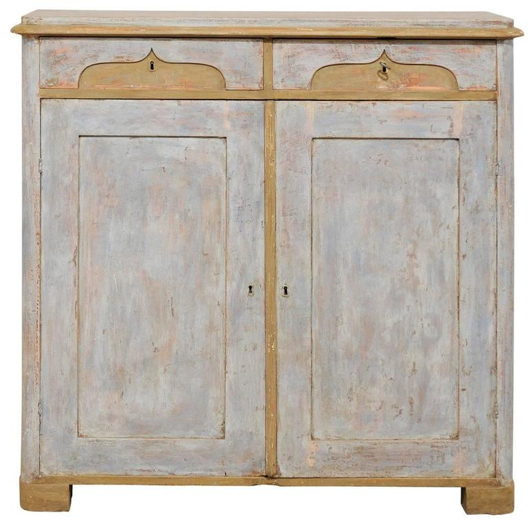 19th Century, Swedish Two-Door, Two-Drawer Painted Wood Cabinet with Ogee Motif