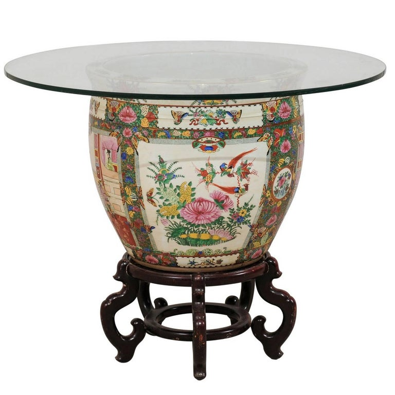 Chinese Famille Rose Ornately Decorated Porcelain, Glass and Wood Round Table For Sale