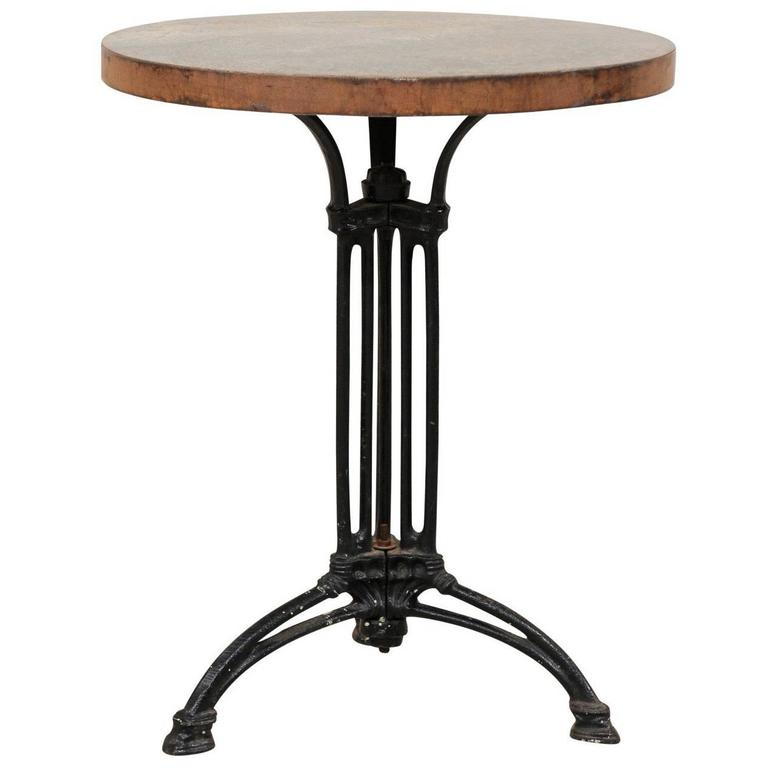 French petite round iron indoor or outdoor bistro table for Outdoor round table tops for sale