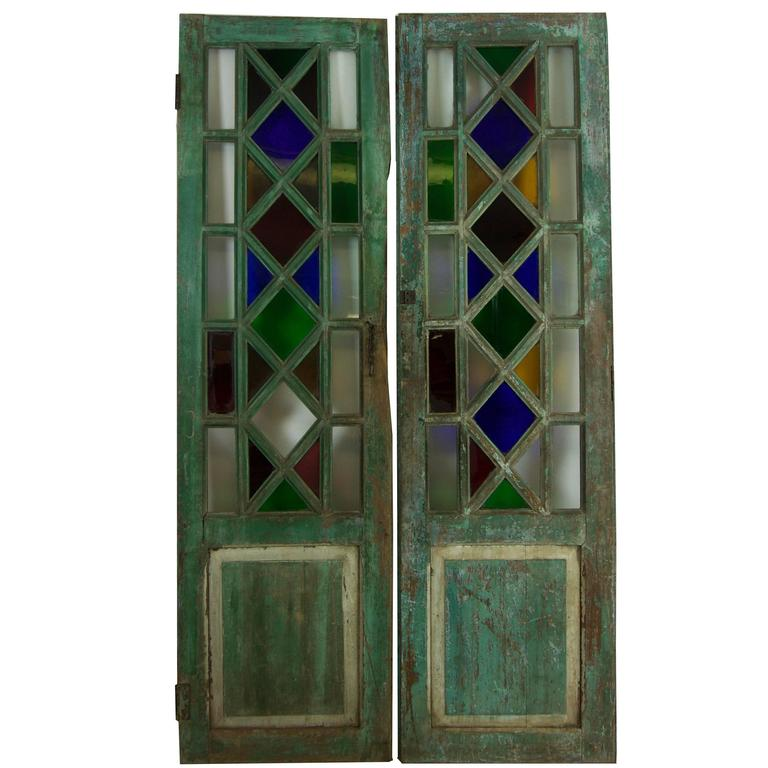 Vintage Stained Glass Doors At 1stdibs