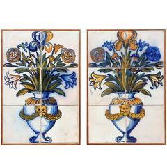 Pair of Portuguese Polychrome Albarradas from the 17th Century