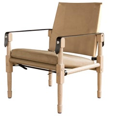 Large Chatwin Lounge Chair in Natural Finish Oak with Leather Upholstery