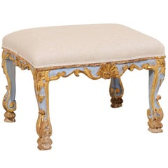Italian Period Rococo Carved, Gilded & Painted Wood Stool from the 18th Century