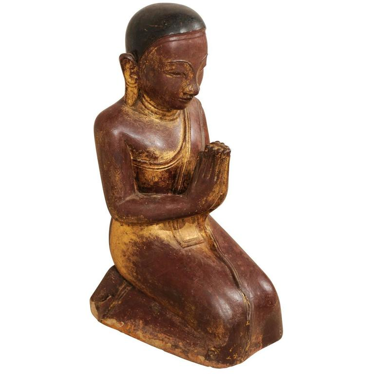 19th Century Burmese Buddha Figure in Prayer Hand-Carved from Sandstone For Sale