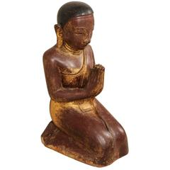 19th Century Burmese Buddha Figure in Prayer Hand-Carved from Sandstone