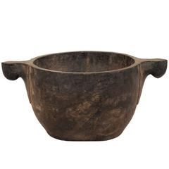 Primitive Style Vintage Naga Hand-Carved Wood Bowl from N.E. India/N.W. Burma