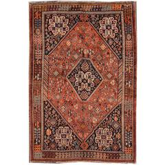 Gorgeously Contrasted Antique Persian Shiraz Rug