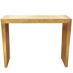 Mid-Century Embossed Brass Foil Covered Console