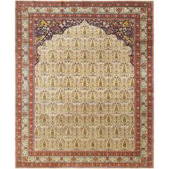 Antique Prayer Design Tabriz Persian Rug