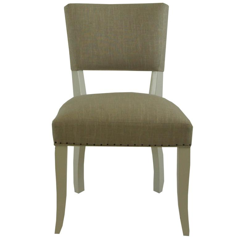 Transitional Upholstered Dining Chair For Sale