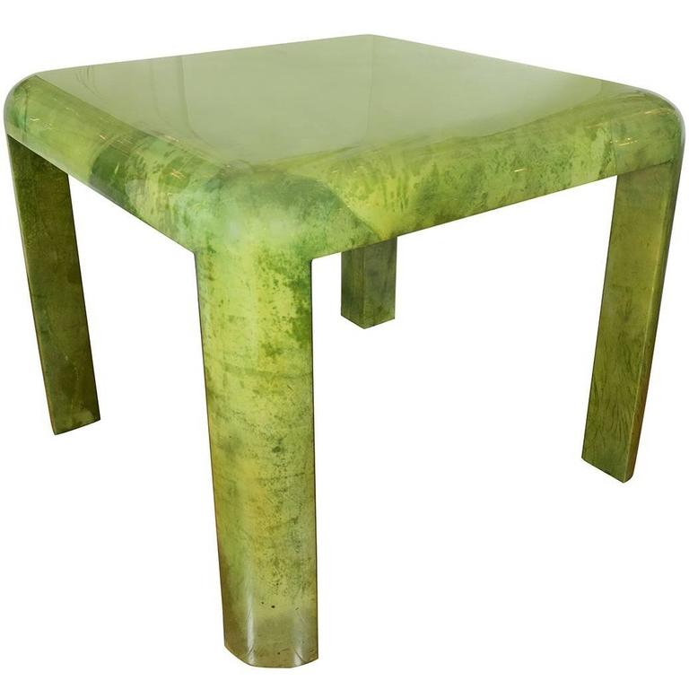 Lacquered Goatskin Card Table For Sale