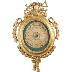 French Louis XVI Carved Giltwood Barometer