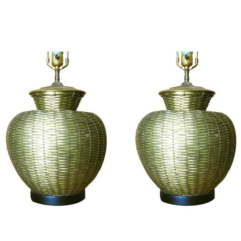Elegant Woven Brass Table Lamp, Pair