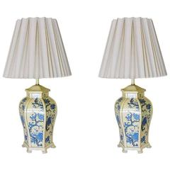 James Mont Style Enamel Asian Inspired Mid-Century Lamp Pair