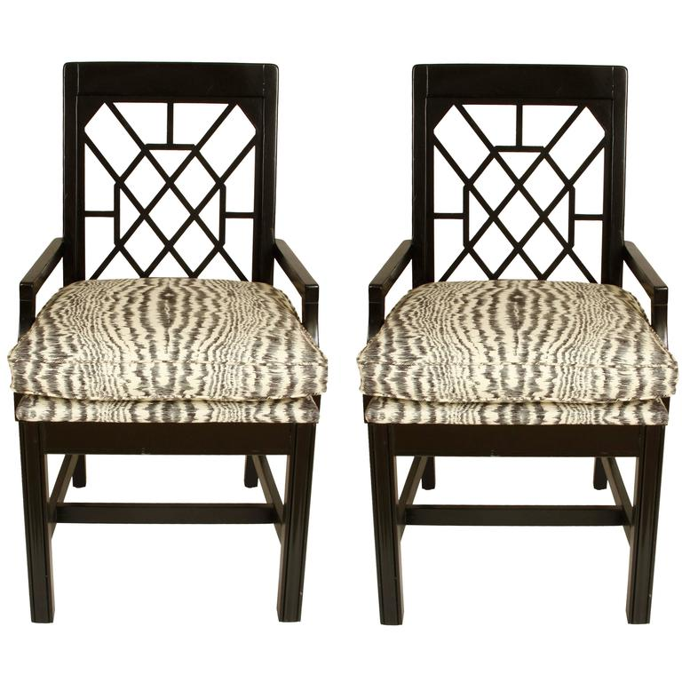 Pair of Black Painted Fretwork Chairs For Sale