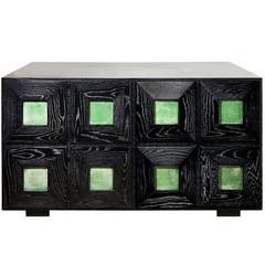 Cerused Oak Cabinet with Matte Green Goatskin Panels