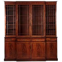 English George III Antique Mahogany Breakfront China Cabinet Bookcase circa 1790