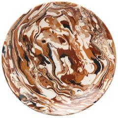 One of a Kind Cabana Brown Marbleized Ceramic Platter
