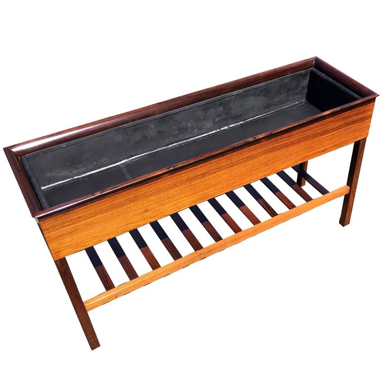 Danish Rosewood Planter with Metal Liner and Slatted Undertier