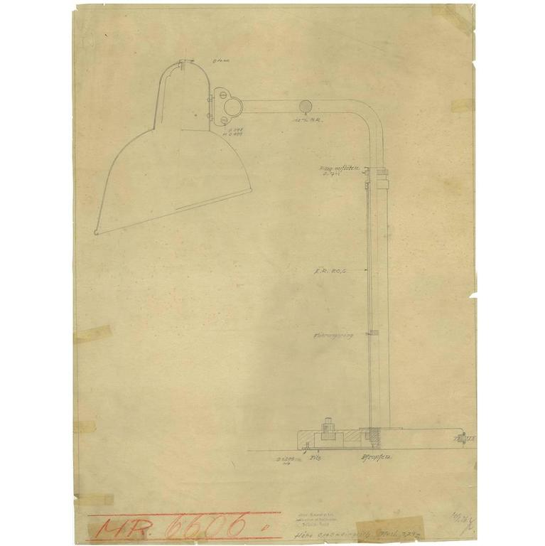 Print of the Original Christian Dell Drawing for Kaiser Idell, Bauhaus Lamp For Sale