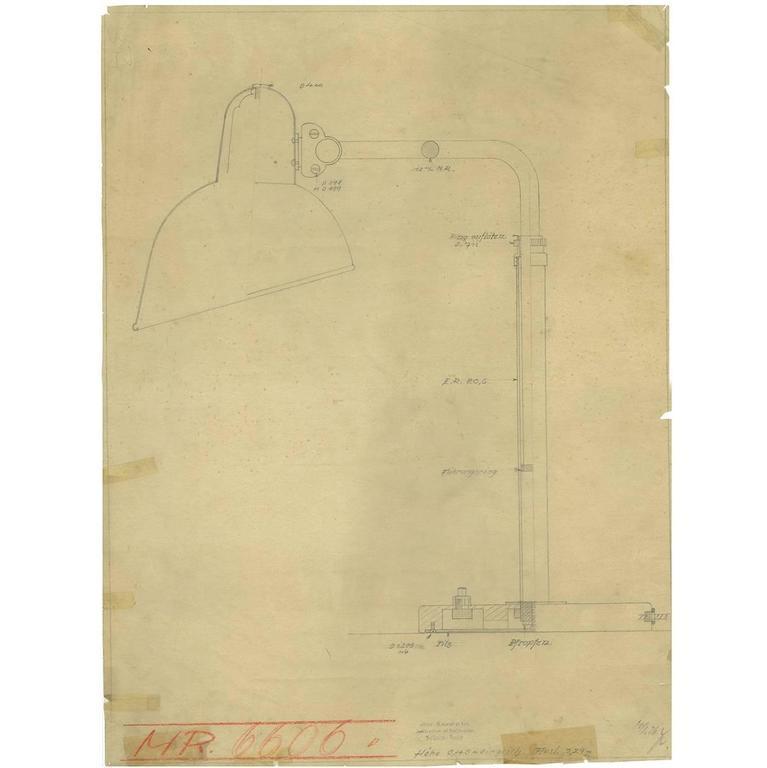Drucken der Originalzeichnung Christian Dell für Kaiser Idell, Bauhaus-Leuchte 1