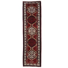 Vintage Persian Heriz Runner, Hallway Runner with Tudor Manor House Style