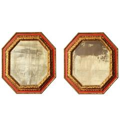 Pair of Italian Polychrome Decorated Octagonal Mirrors