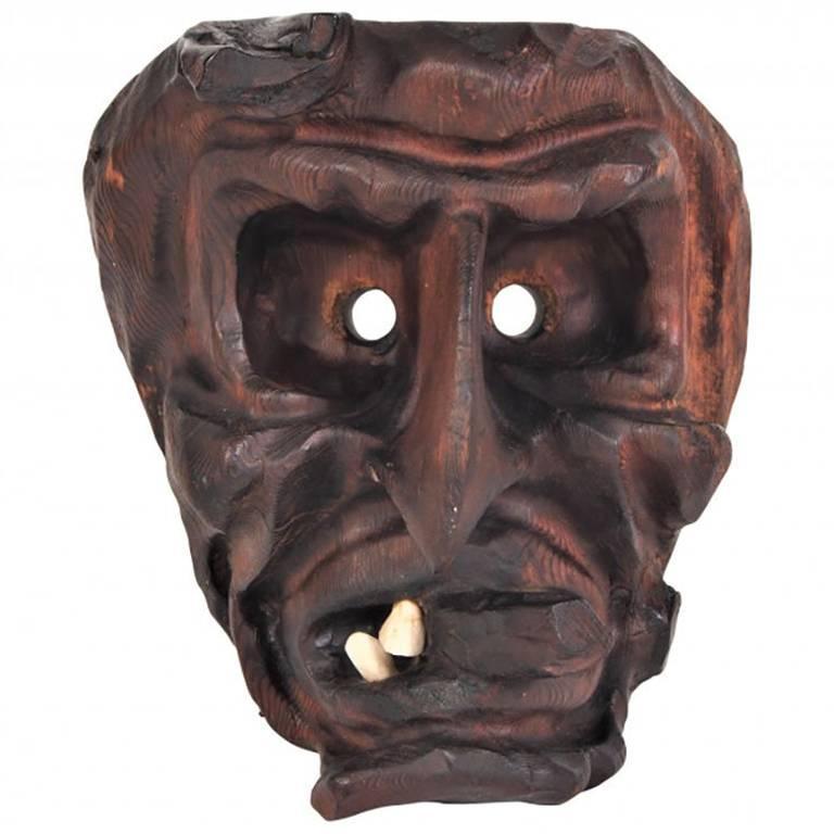 Willi Huggler Carved Wood Mask