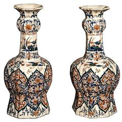 Pair of Delft Polychrome Decorated Double Gourd Vases, Early 19th Century