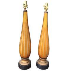 Pair of Mid-Century Italian Murano Glass Lamps, Original Bases