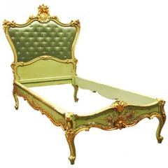 Antique Venetian Gilt and Paint Decorated Bedstead