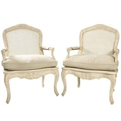 Large Seat Caned Armchairs