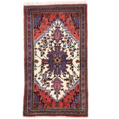 Vintage Persian Heriz Rug with Mid-Century Modern Style in Traditional Colors