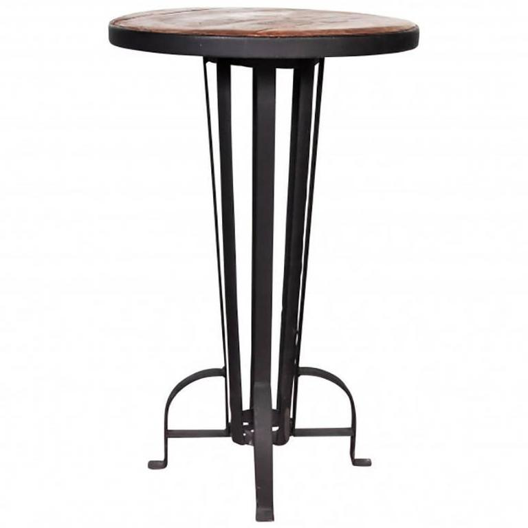 Recycled Wood And Wrought Iron Bar Table For Sale