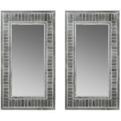 Pair of Industrial Rectangular Mirrors