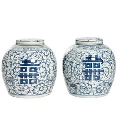 Pair of Blue and White Ginger Jars