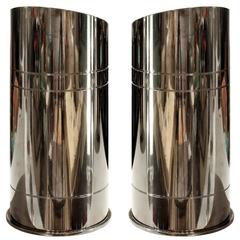 "Karl Springer Pair of ""Bullet Uplights"" in Gunmetal, 1970s"