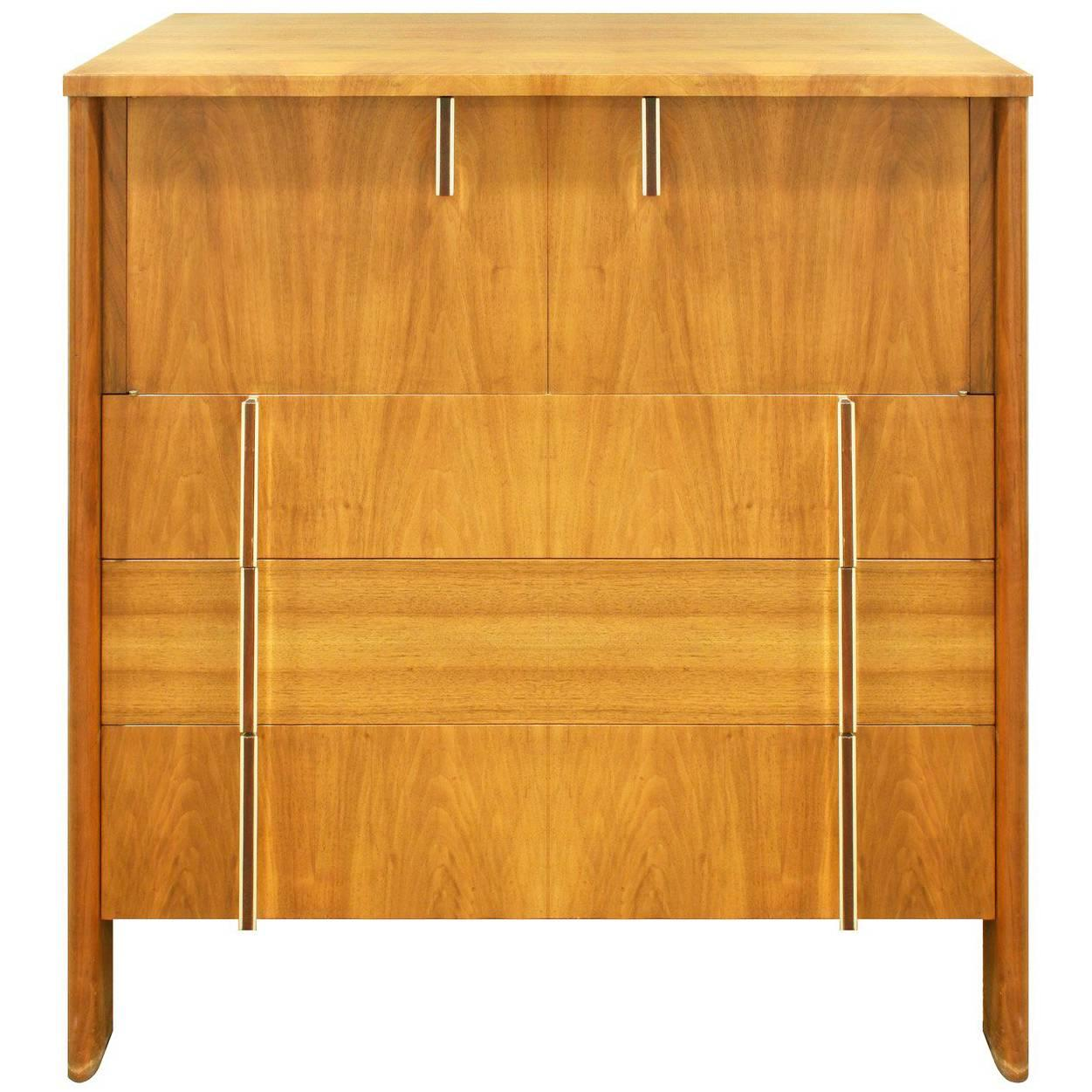 John Widdicomb Tall Chest in Walnut with Rosewood and Chrome Pulls, 1950s