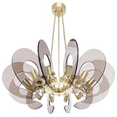 Restored 12 Light Chandelier Attributed to Cristal Arte in Brass & Smoked Glass