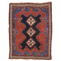 Antique Persian Shiraz Accent Rug with Modern Tribal Style