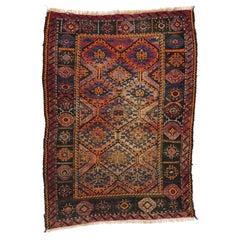 Art Deco Style Antique Persian Shiraz Rug, Kitchen, Foyer or Entry Rug