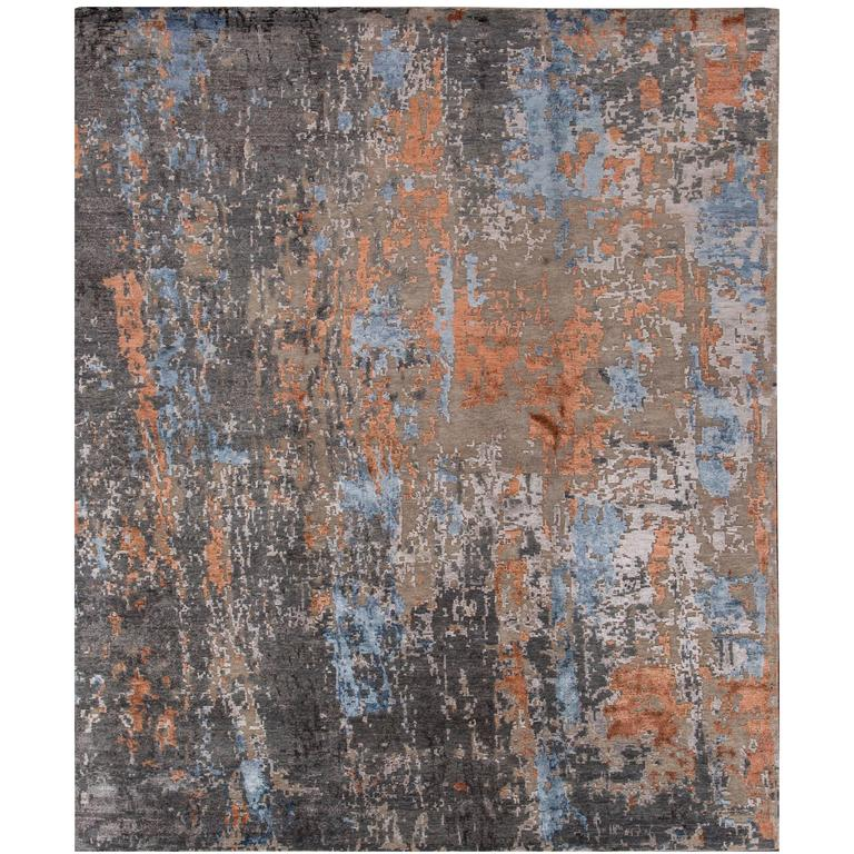 Beautifully Contrasted Modern Rose Wood Rug For Sale At