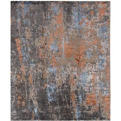 Beautifully Contrasted Modern Rose Wood Rug